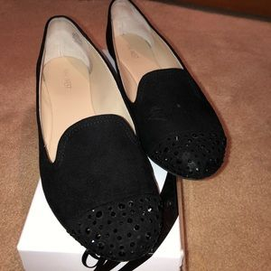 nine West black suede diamond flats loafers